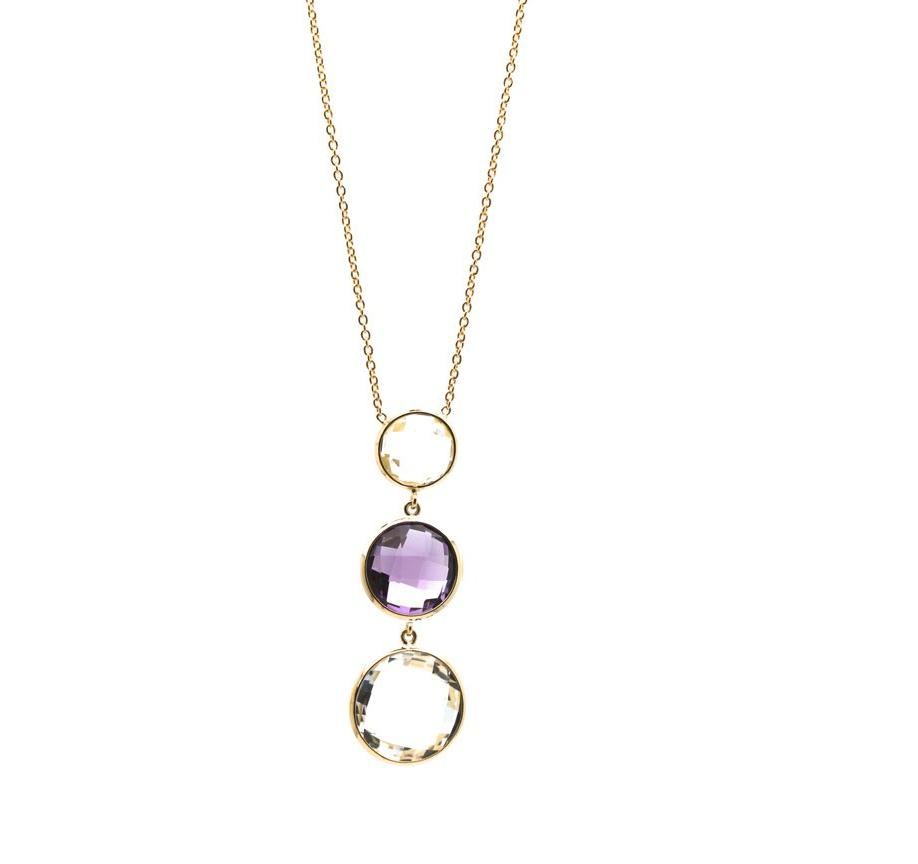 Crystal & Amethyst Necklace In 18K Yellow Gold