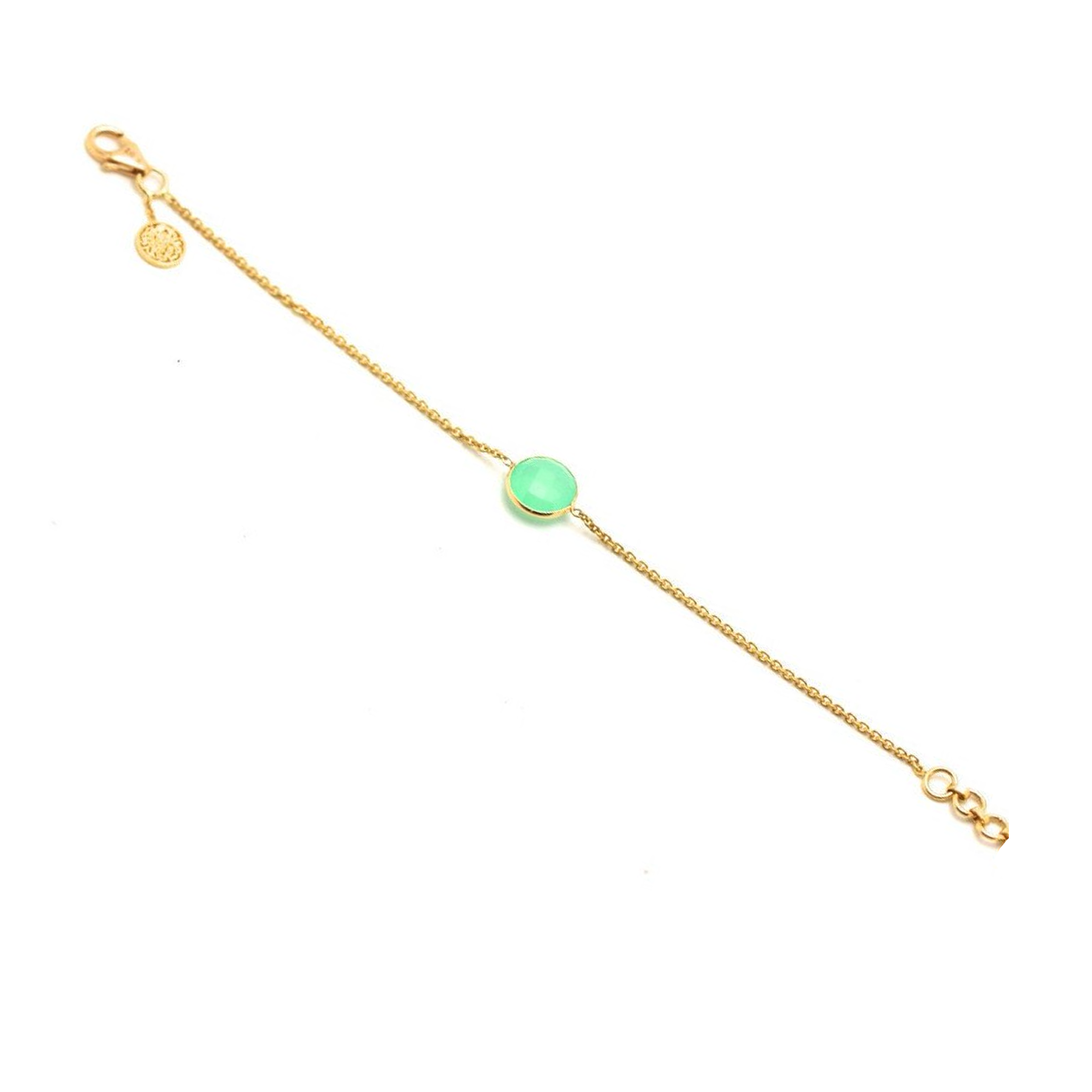 Crysophrase Single Stone Bracelet in 18k Yellow Gold