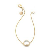 Rainbow Moonstone Single Stone Bracelet in 18k Yellow Gold