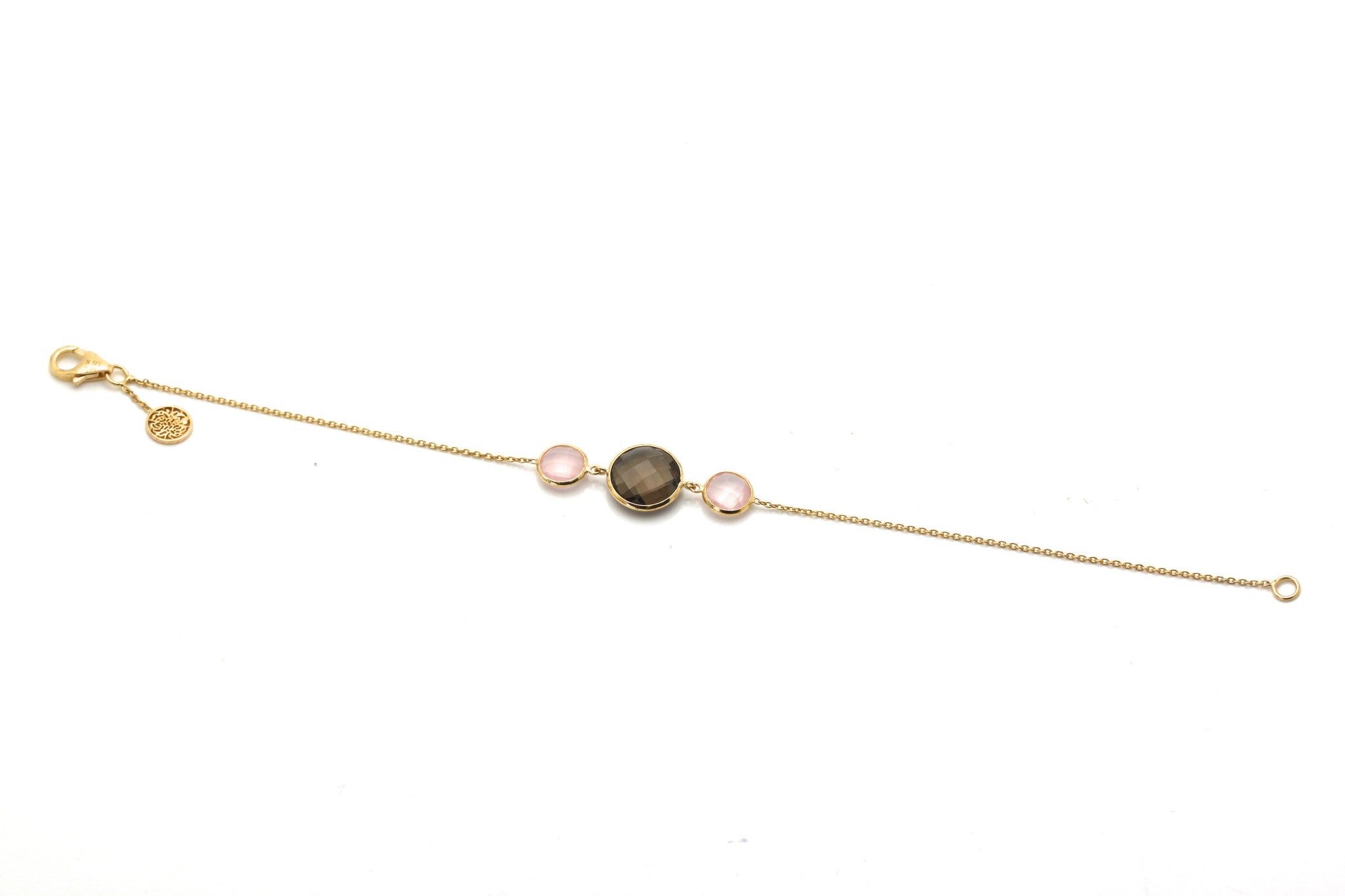 18k Yellow Gold Bracelet With Rose Quartz & Smokey Quartz