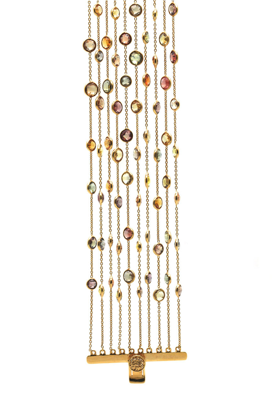 18k Yellow Gold Bracelet With Multicolor Tourmaline