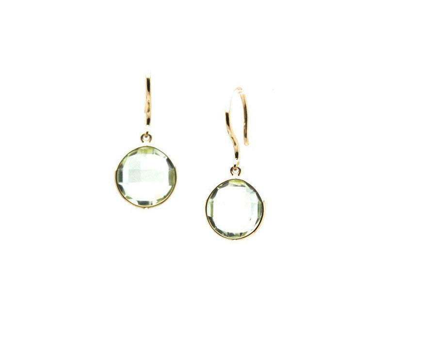 Green Amethyst Round Faceted Simple Dangle Earrings In 18K Yellow Gold