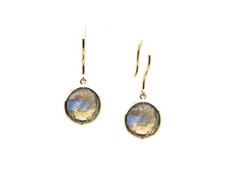 Labradorite Round Faceted Simple Dangle Earrings In 18K Yellow Gold