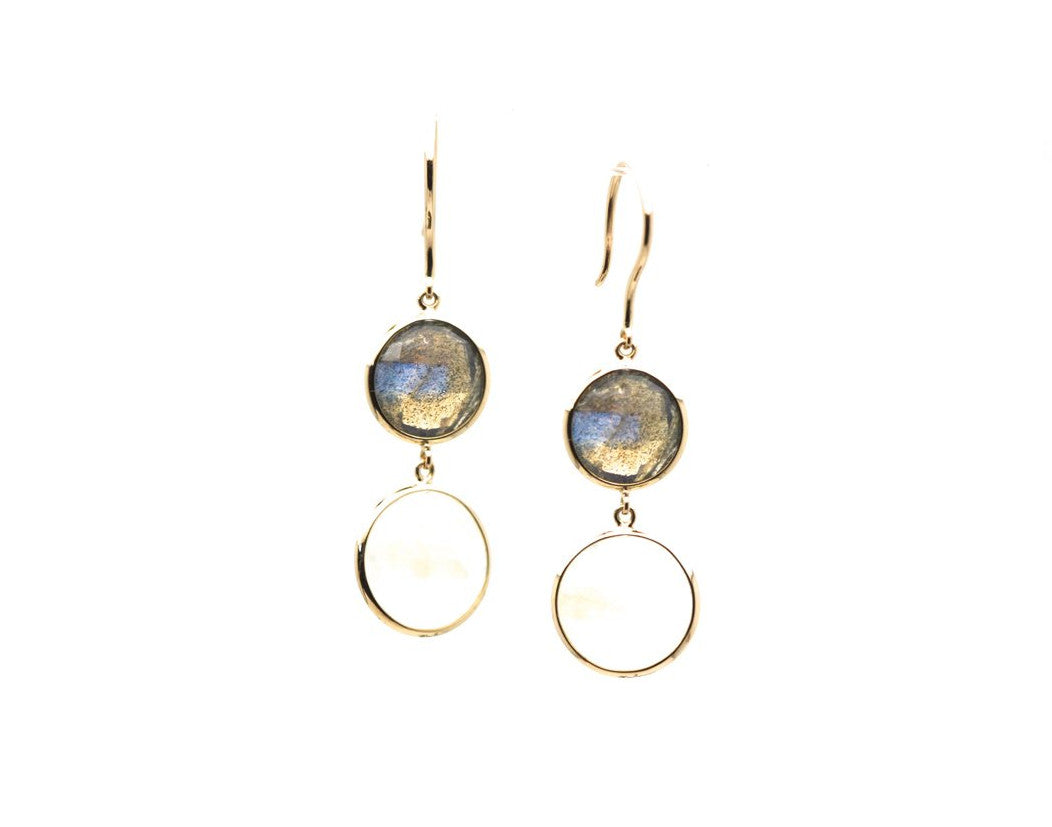 Rainbow Moonstone & Labradorite Simple Two Dangle Earrings In 18K Yellow Gold