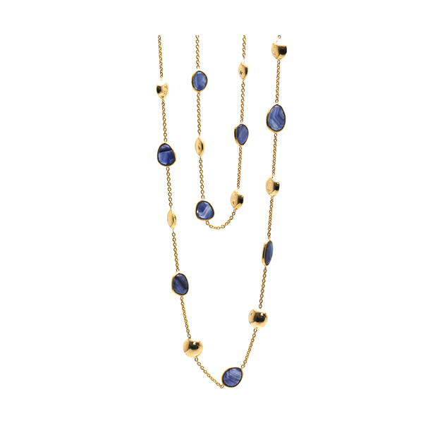 Blue Sapphire Long Station Necklace in 18k Yellow Gold