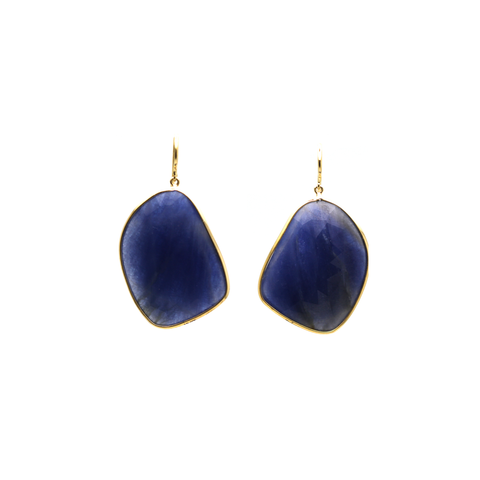 18kt Yellow Gold Earring With Blue Corundum