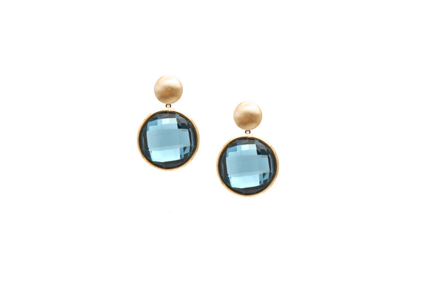 London Blue Topaz Double sided Round Checkerboard Simple Dangle Earrings in 18k YG