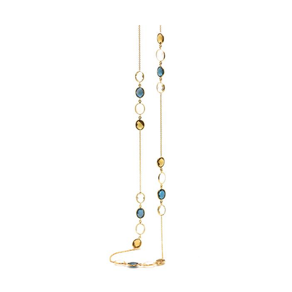 London Blue Topaz, Rainbow Moonstone, Crystal & Citrine Station Necklace in 18k Yellow Gold