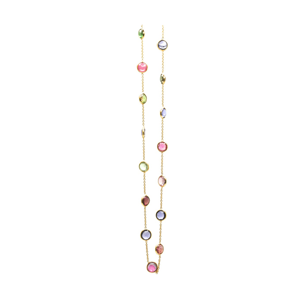 Multicolor Tourmaline Station Necklace in 18k Yellow Gold