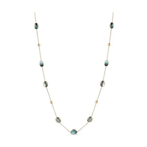 Labradorite stone Long Station Necklace In 18K Yellow Gold