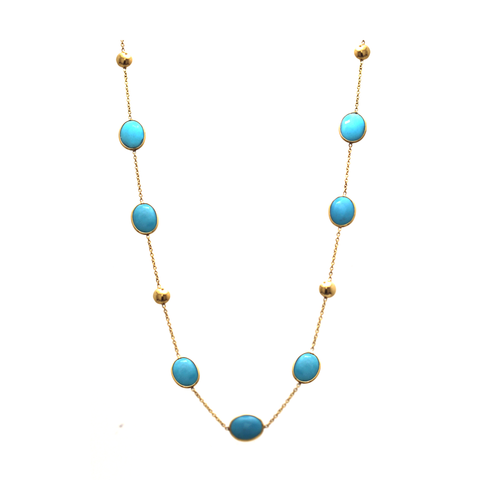 Turquoise Long Station Necklace In 18K Yellow Gold