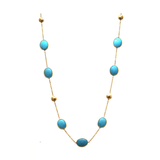 Gemstone Long Station Necklace In 18K Yellow Gold