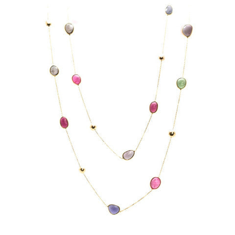Multicolor Tourmaline Long Station Necklace in 18k Yellow Gold