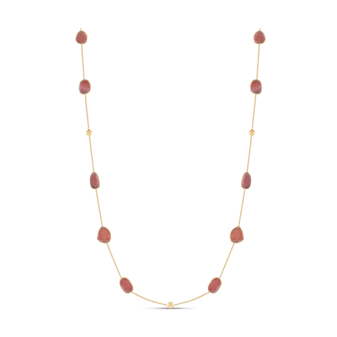 Gemstone Flat Stone Necklace In 18k Yellow Gold