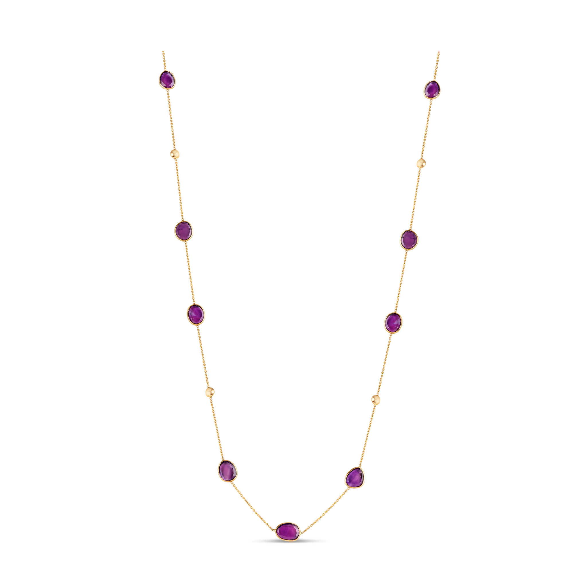 Amethyst Flat Stone Long Necklace In 18K Yellow Gold