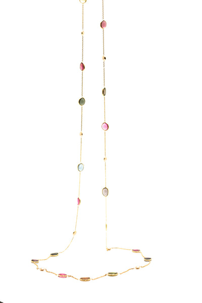 18K Yellow Gold Necklace With Multi Tourmaline Smooth Oval