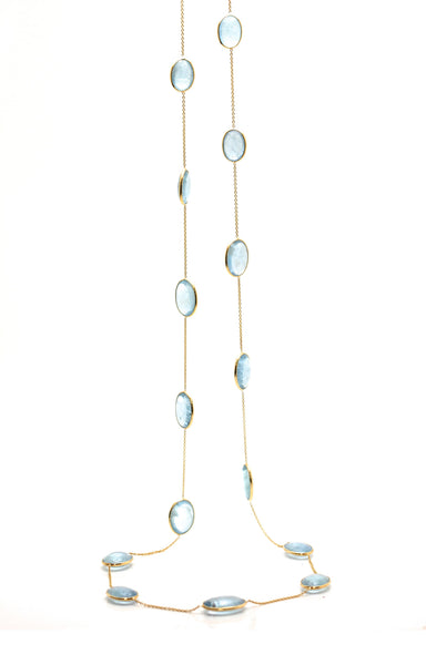 18K Yellow Gold Necklace With Aquamarine
