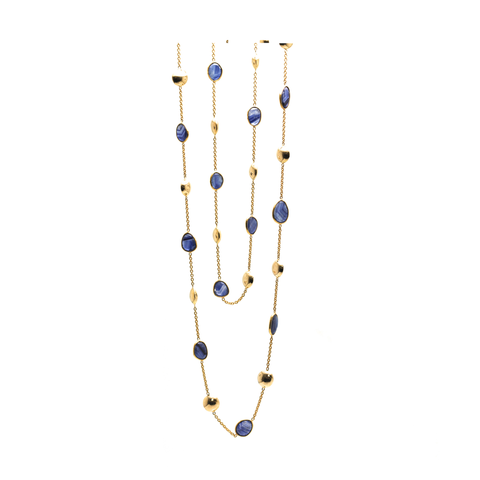 18k Yellow Gold Long Lente Necklace With Blue Sapphire