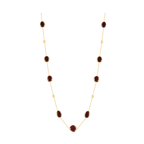18k Yellow Gold Long Lente Necklace With Garnet