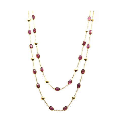 18k Yellow Gold Long Lente Necklace With Ruby
