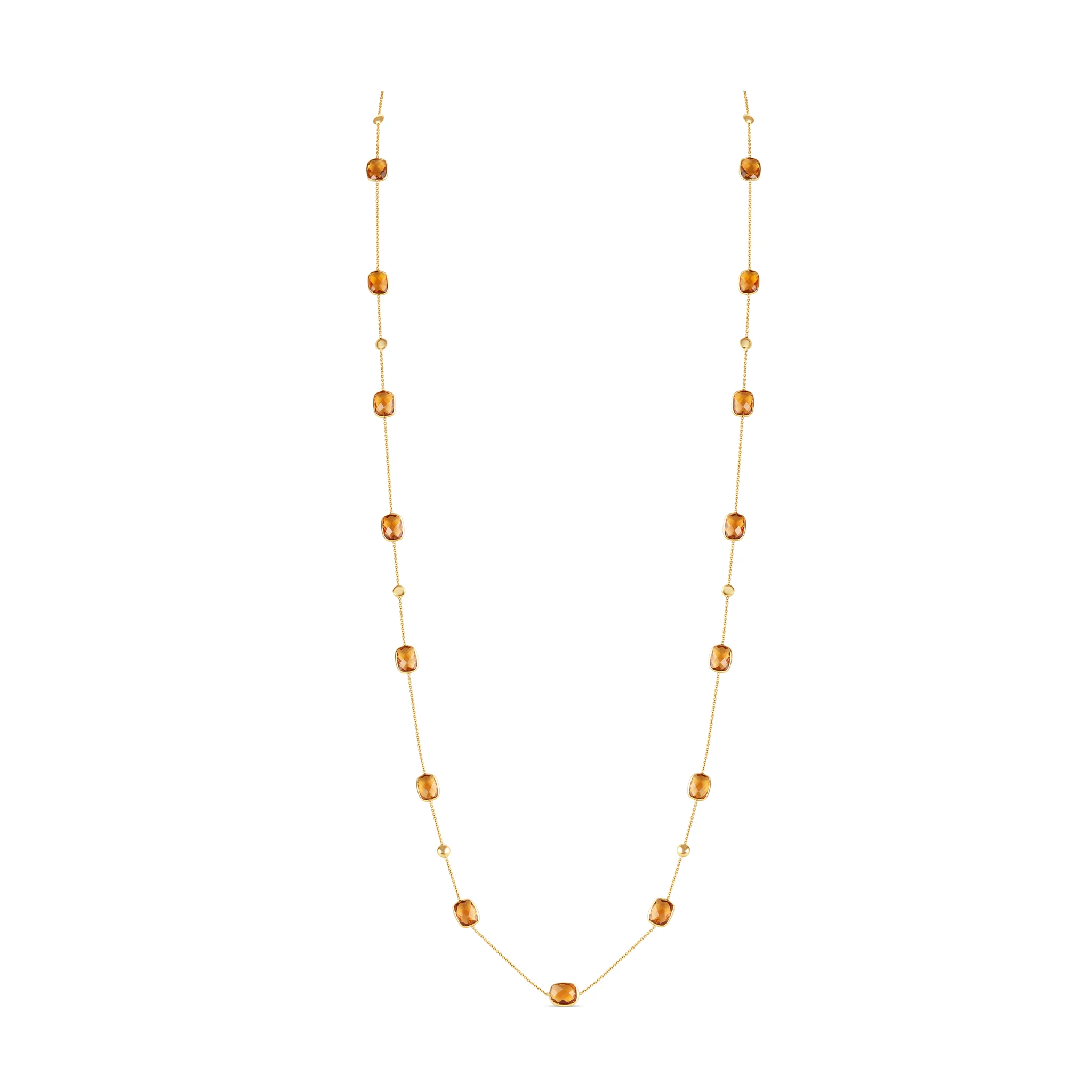 Multicolor Stones Long Necklace in 18K Yellow Gold