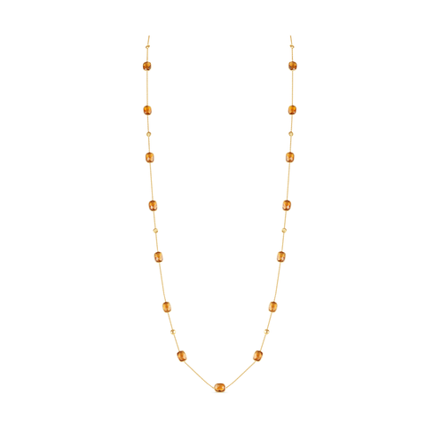 18K Yellow Gold Long Lente Necklace With Citrine