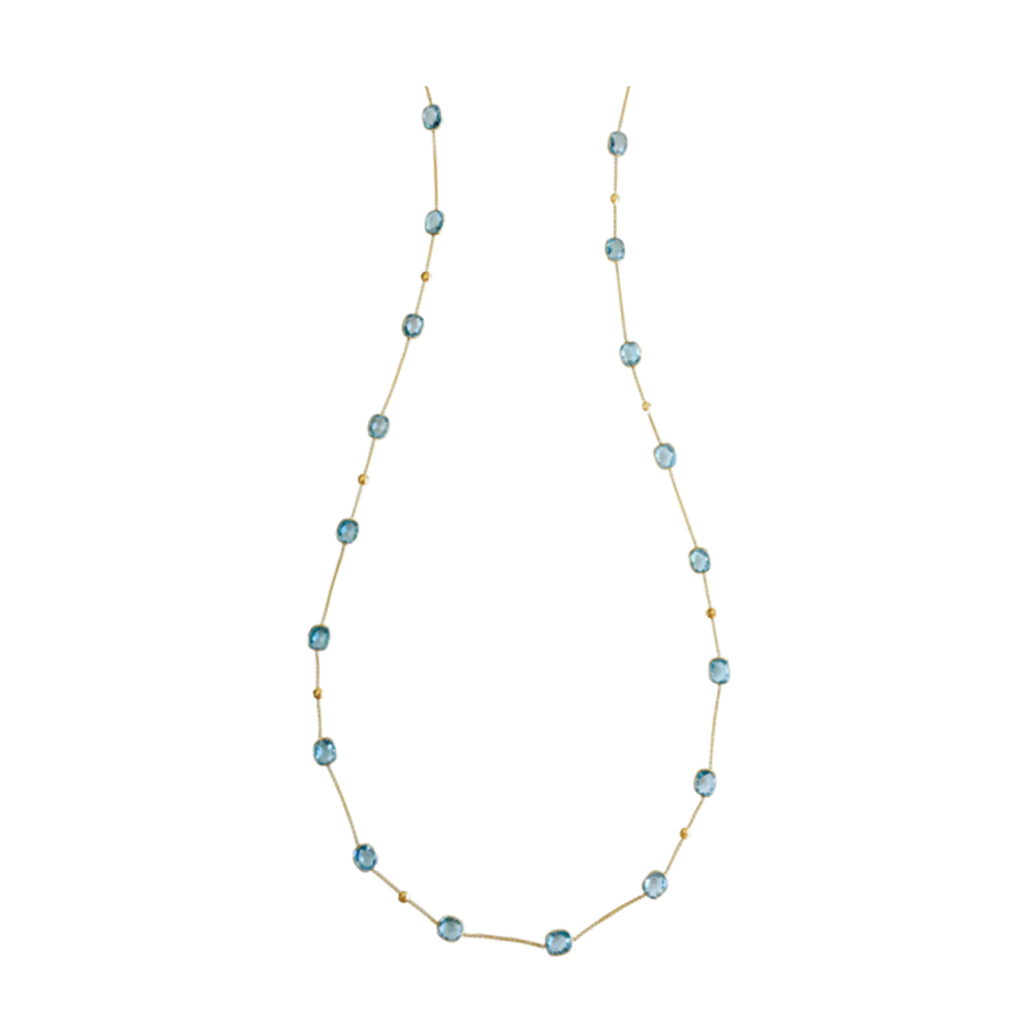 18K Yellow Gold Long Lente Necklace With Sky Blue Topaz