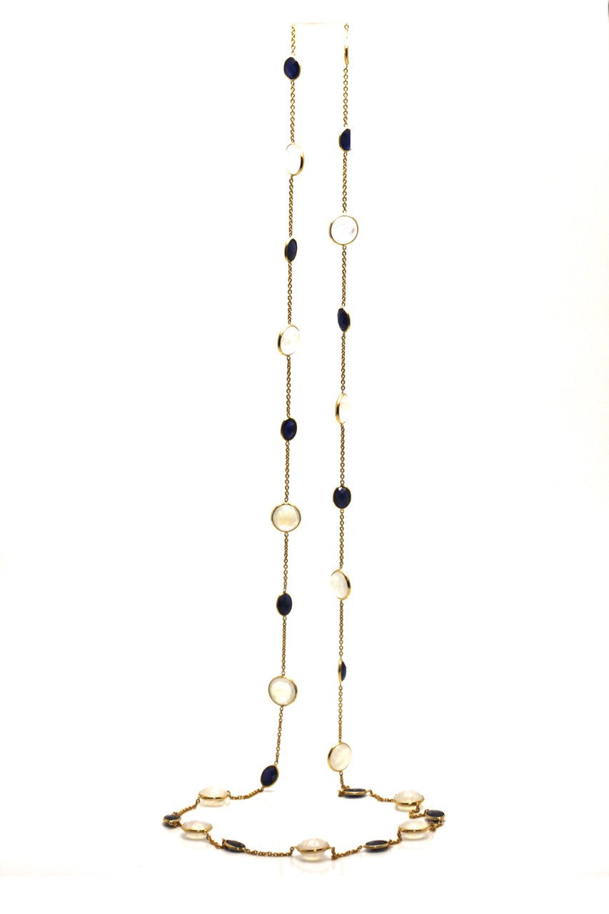 Blue Sapphire & Rainbow Moonstone Long Necklace In 18K Yellow Gold