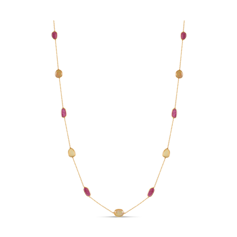 Opal & Ruby Necklace In 18K Yellow Gold