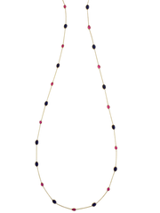 18K Yellow Gold Long Necklace With Lapis & Ruby