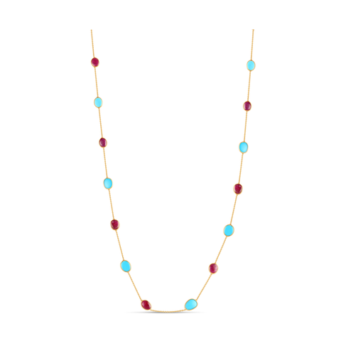 18K Yellow Gold Long Necklace With Turquoise & Ruby