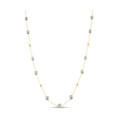 Gemstone Smooth Oval Long Necklace In 18k Yellow Gold