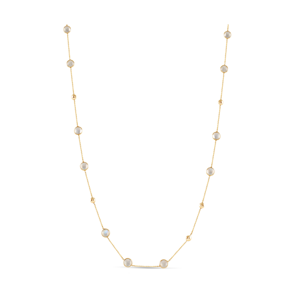 Rainbow Moonstone Smooth Oval Long Necklace In 18k Yellow Gold