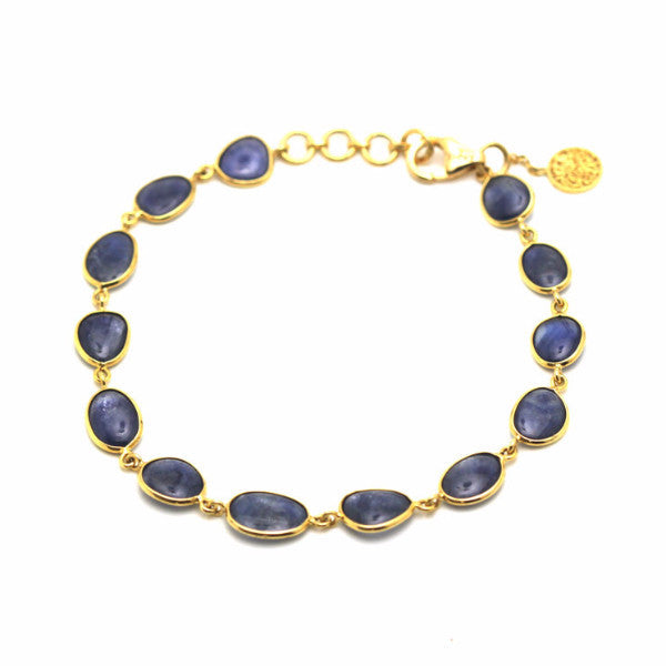 18K Yellow Gold Bracelet With Blue Sapphire