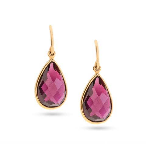 Rhodolite Garnet Simple Pear Dangle Earrings in 18K Yellow Gold