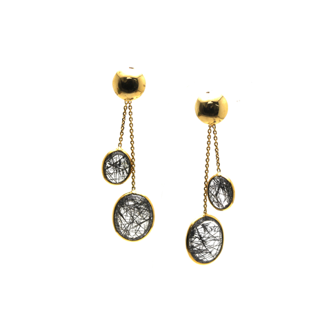 Black Rutile Smooth Oval Earring In 18K Yellow Gold