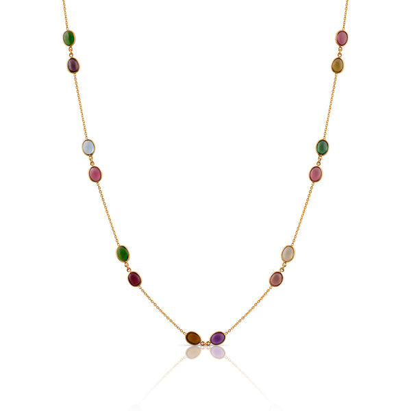 18Kt Yellow Gold Necklace With Multi Tourmaline