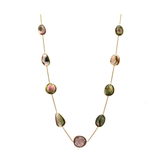 Watermelon Tourmaline Necklace In 18K Yellow Gold