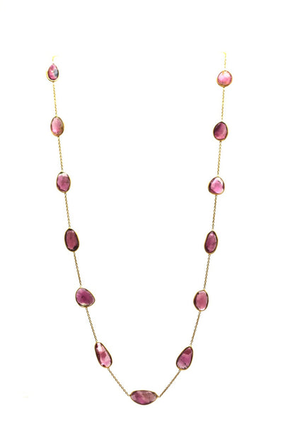18Kt Yellow Gold Necklace With Watermelon Tourmaline