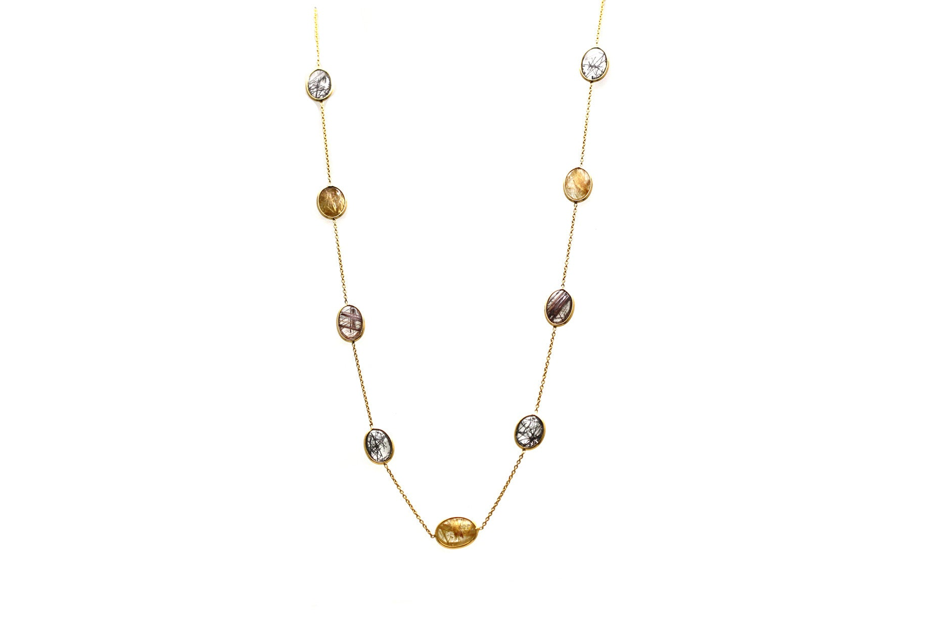 18Kt Yellow Gold Necklace With Multi Rutile