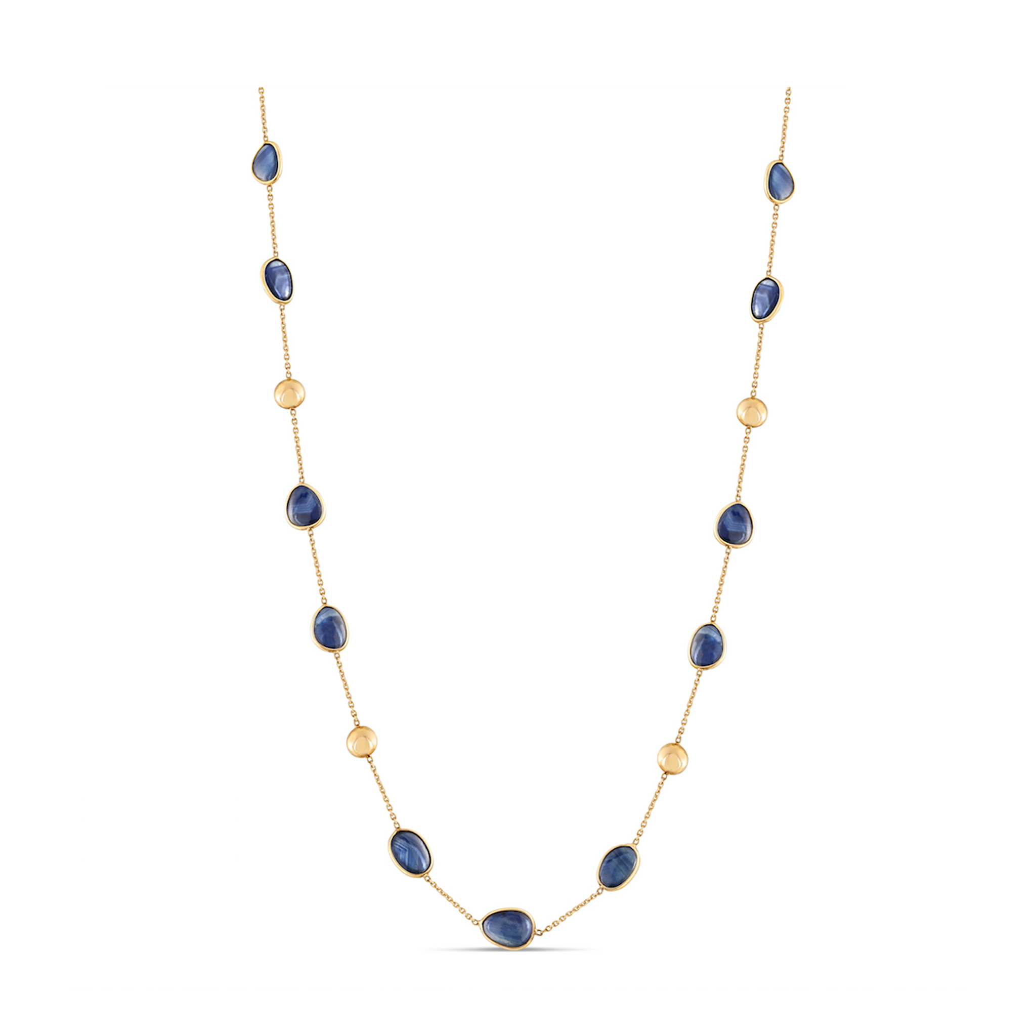18Kt Yellow Gold Necklace With Blue Sapphire