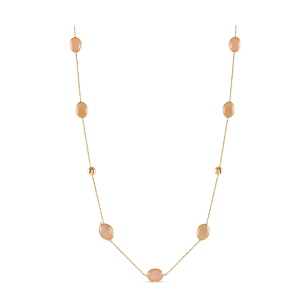 Peach MoonStone Necklace In 18K Yellow Gold