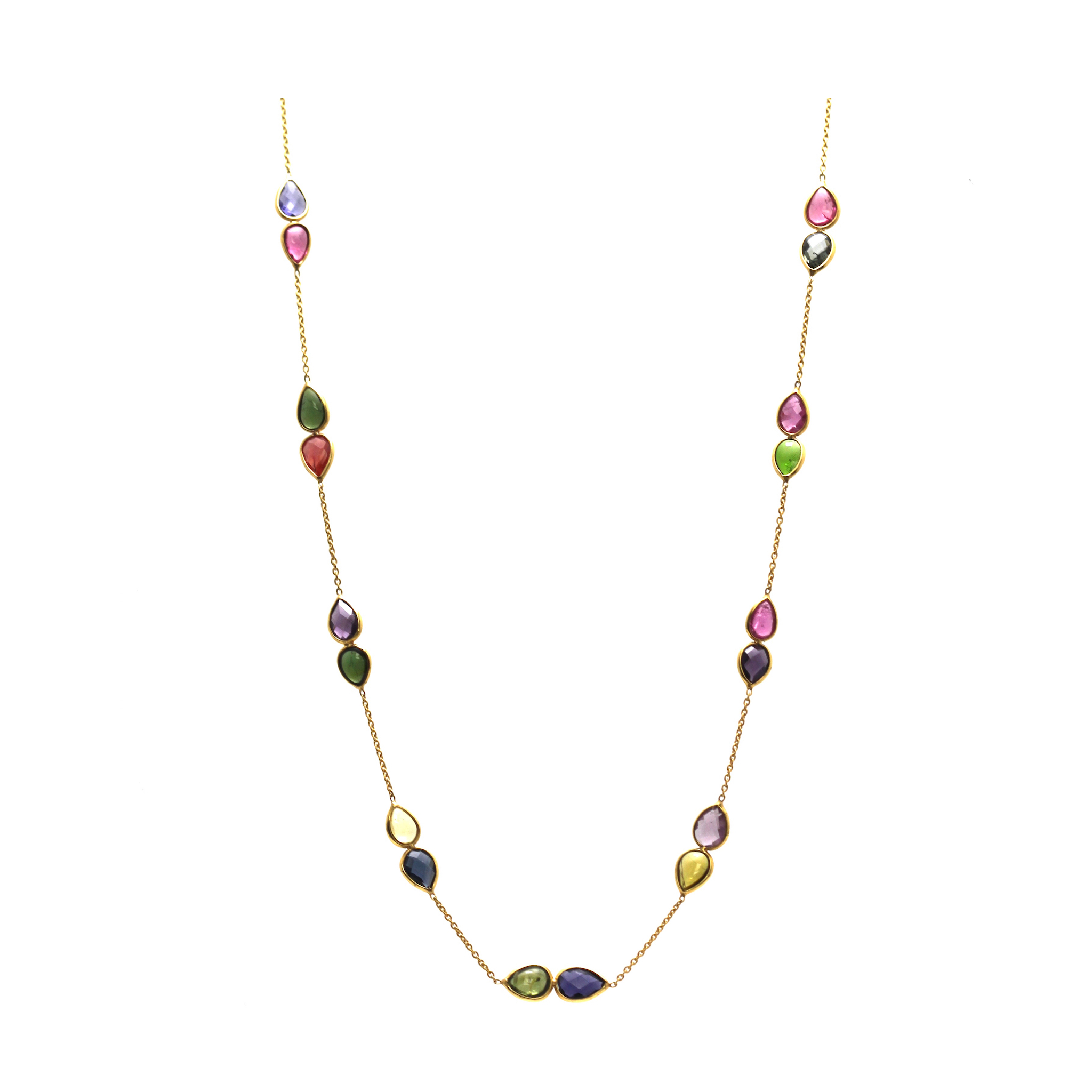 Multicolor Tourmaline Necklace In 18K Yellow Gold