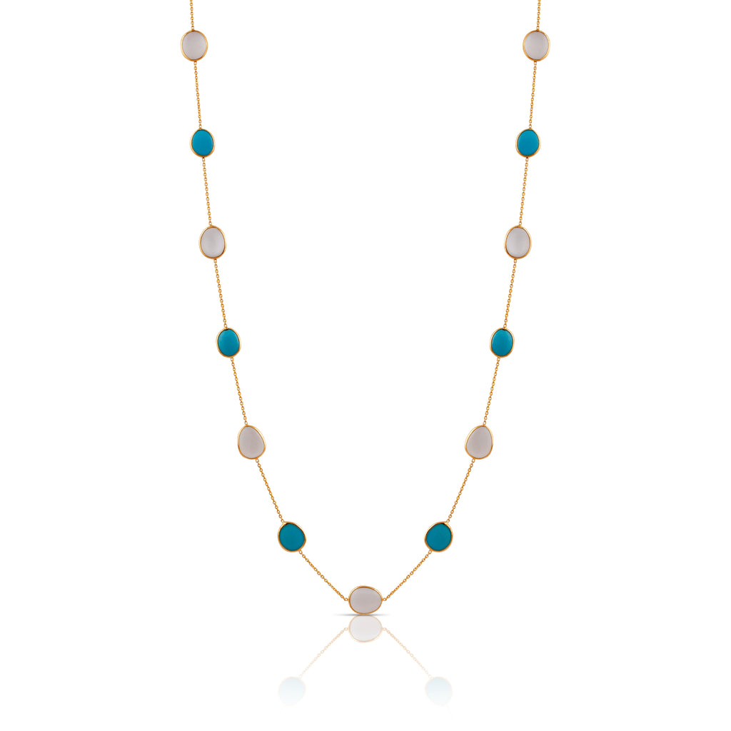 Turquoise & White Moonstone Long Necklace In 18K Yellow Gold