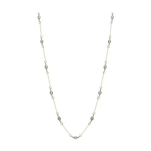Rainbow Moonstone & Gemstone Necklace In 18k Yellow Gold