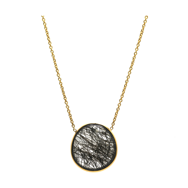Black Rutile Necklace In 18K Yellow Gold