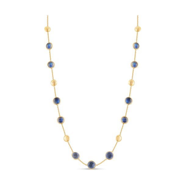 Rainbow Moonstone Necklace In 18K Yellow Gold