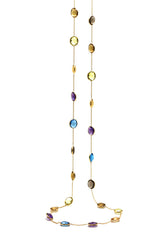 Multicolor Stone Long Station Necklace in 18k Yellow Gold