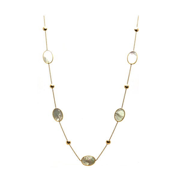Pearl Flat Oval Long Necklace in 18k Yellow Gold