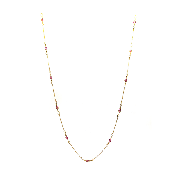 Ruby & Rainbow Moonstone Necklace in 18k YG